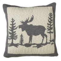 Grey & Ivory Moose in Woods Knit Pillow. Product Image