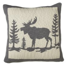 Grey & Ivory Moose in Woods Knit Pillow.