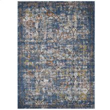 Minu Distressed Floral Lattice 5x8 Area Rug in Blue Gray, Yellow and Orange