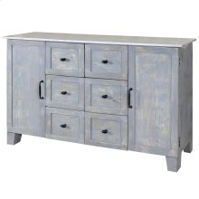 Braxton  54in X 18in X 34in  Six Drawer 2 Door Buffet Made of Solid Mango Wood in a Lightly Distre