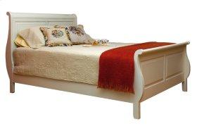 Wellington Solid Panel Sleigh Bed, Wood Rails And Wood Slats