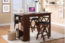 3-Piece Pack Counter Height Set Table: 47.25 x 35.5 x 36H Stool: 14 x 14 x 25H