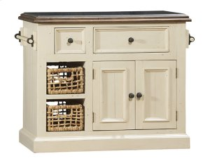 Tuscan Retreat® Medium Granite Top Kitchen Island With 2 Baskets - Country White With Antique Pine T