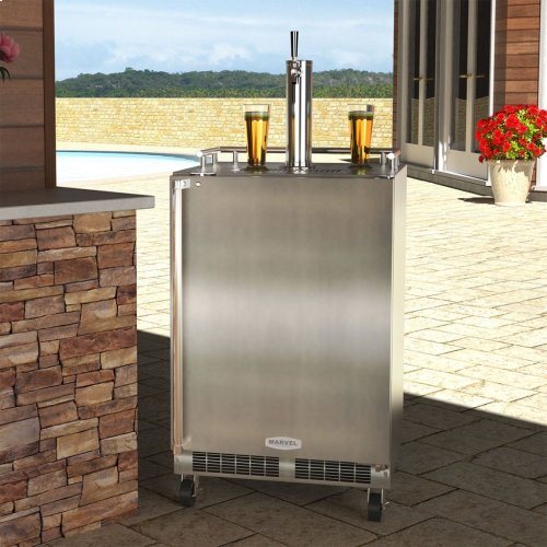 "24"" Outdoor Single Tap Mobile Beer Dispenser with Stainless Steel Door - Solid Stainless Steel Door With Lock, Right Hinge"