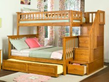 Columbia Staircase Bunk Bed Twin over Full with Raised Panel Trundle Bed in Caramel Latte