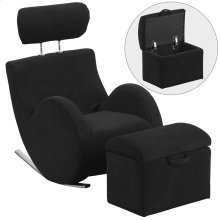 Black Fabric Rocking Chair with Storage Ottoman