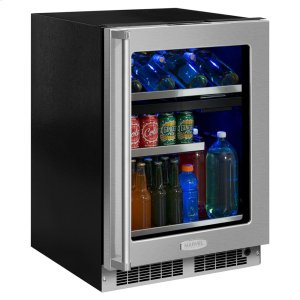 Marvel24-In Professional Built-In Dual Zone Wine And Beverage Center with Door Style - Stainless Steel Frame Glass, Door Swing - Right