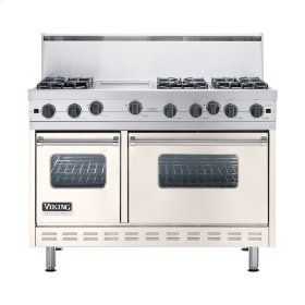 "Oyster Gray 48"" Open Burner Commercial Depth Range - VGRC (48"" wide, six burners 12"" wide griddle/simmer plate)"
