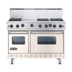 """Oyster Gray 48"""" Open Burner Commercial Depth Range - VGRC (48"""" wide, six burners 12"""" wide griddle/simmer plate)"""