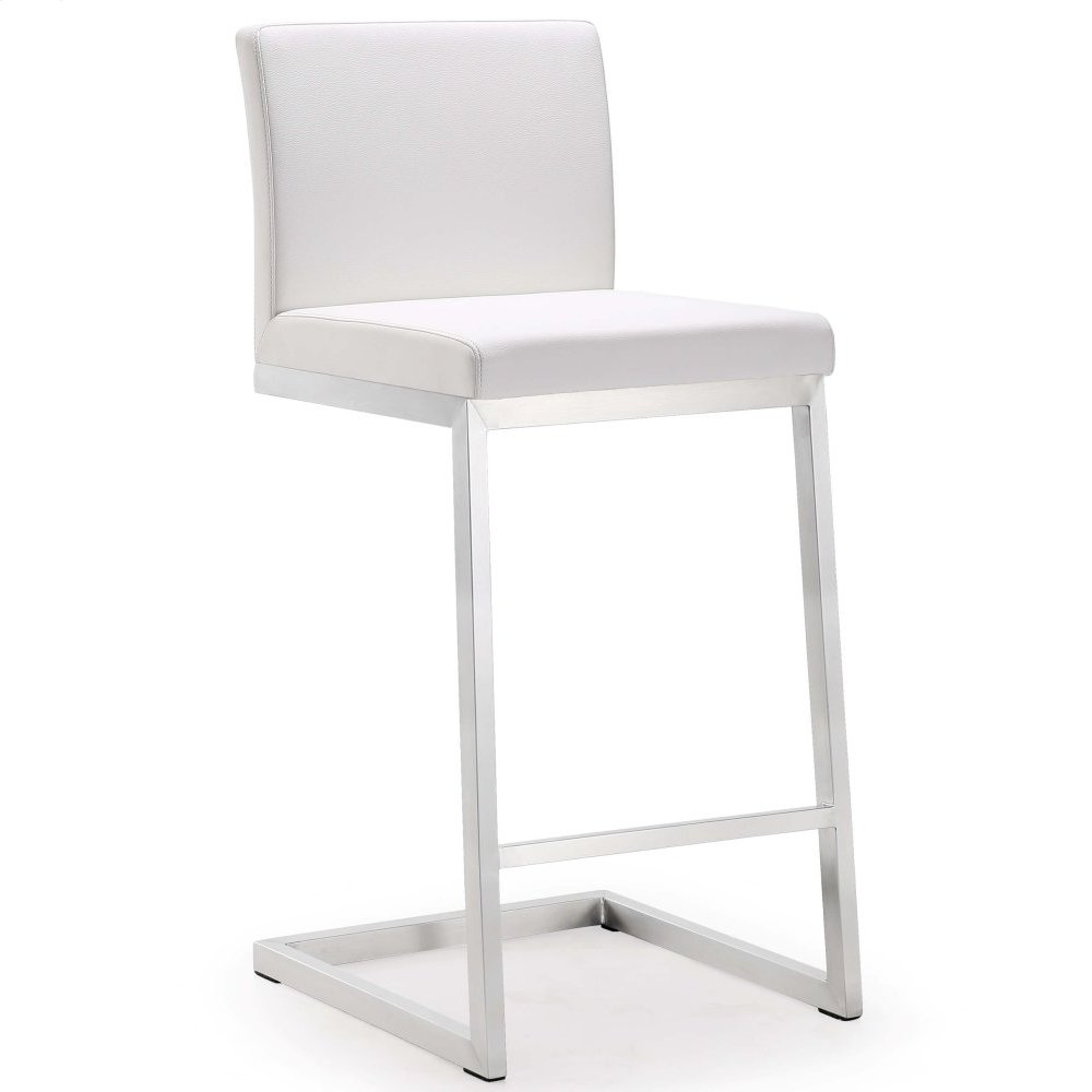 Parma White Stainless Steel Counter Stool - Set of 2