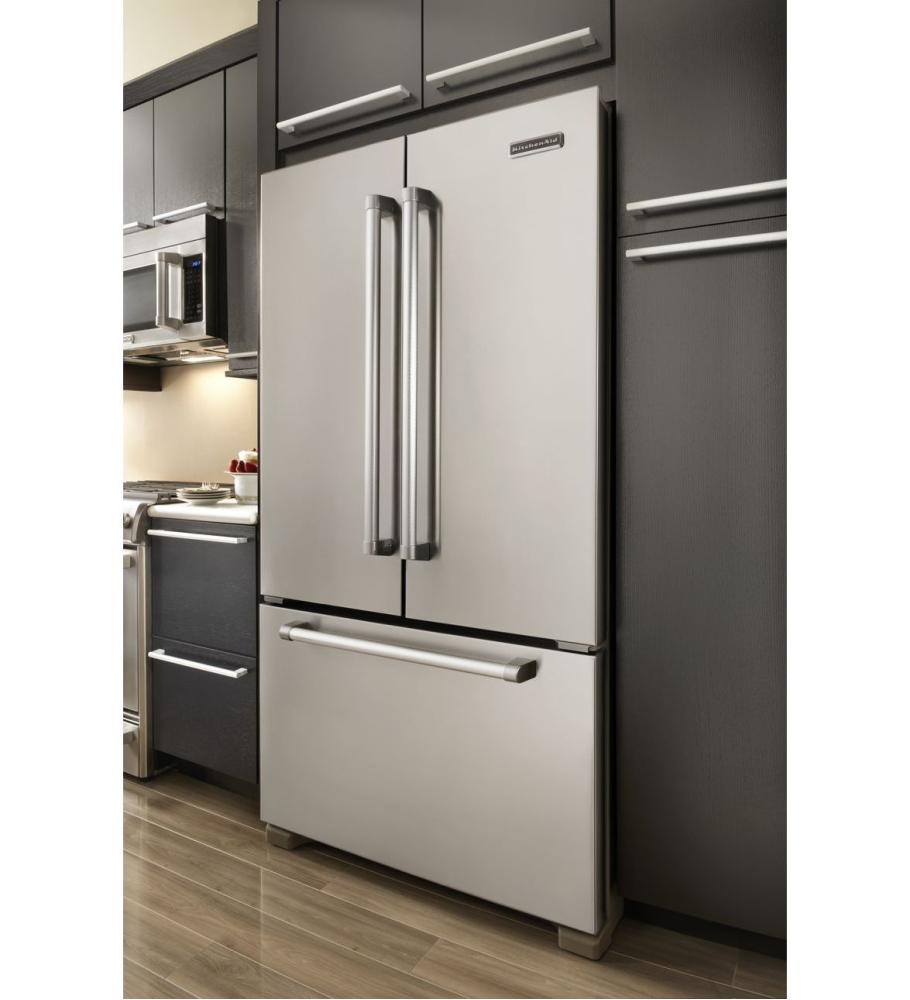 Stainless W. Commercial Handle Kitchenaid(r) 22(r) Cu. Ft. Counter Depth  French Door Refrigerator, Pro Line Series