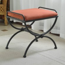 Microsuede Upholstered Iron Iron and Microsuede Vanity Stool