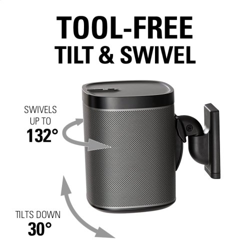 Black Wireless Speaker Swivel and Tilt Wall Mounts designed for Sonos ONE. Play:1, and Play:3