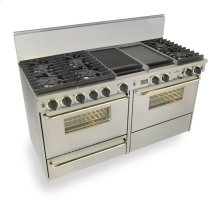"60"" Dual Fuel, Convect, Self Clean, Sealed Burners, Stainless Steel with Br"
