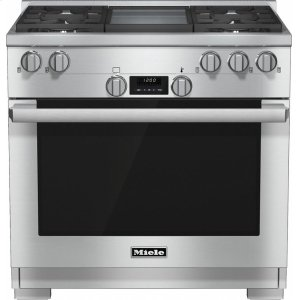 MieleHR 1136-1 LP 36 inch range All Gas with DirectSelect, Twin convection fans and M Pro dual stacked burners