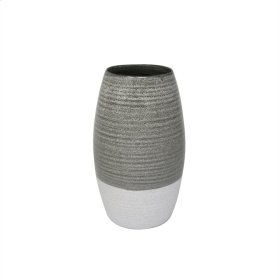 "Ceramic 10"" Vase, Gray/white"