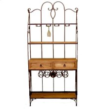 Wrought Iron Wine and Bakers Rack