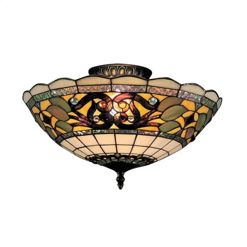 Tiffany Buckingham 3-Light Semi Flush in Vintage Antique