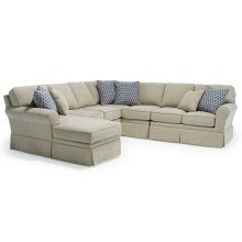 ANNABEL 6PC Stationary Sectional Sofa w/Skirt and Sock Arm