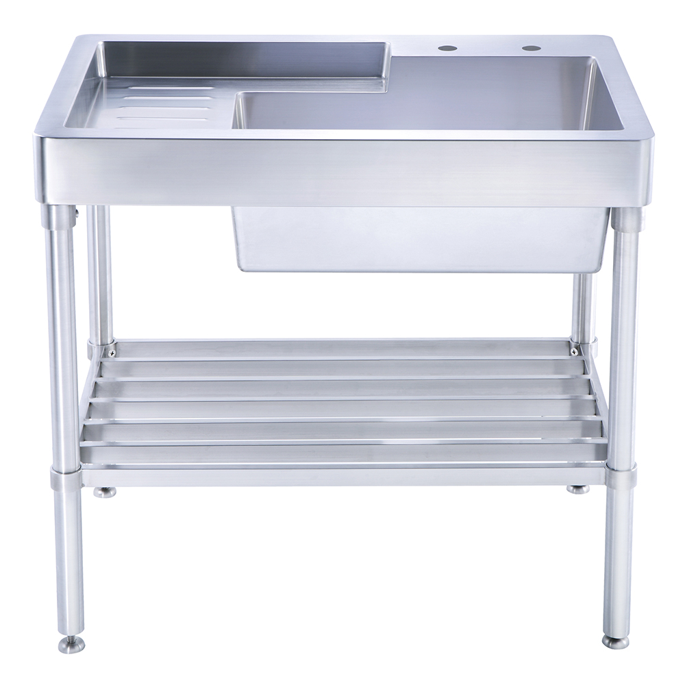 Pearlhaus Collection Single Bowl, Freestanding Utility Sink With Drainboard  And Lower Rack. Hidden