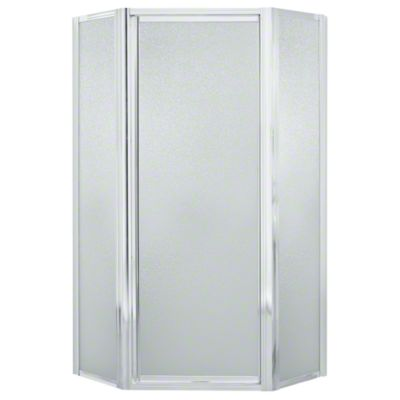 Intrigue™ Neo-angle Shower Door - Silver with Pebbled Glass Texture