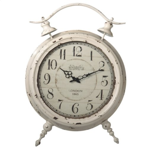 Oversized Distressed Ivory Alarm Desk Clock