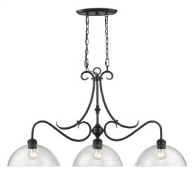 Parrish Linear Pendant in Black with Seeded Glass