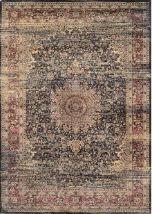 0439/0330 Lotus Medallion / Black-Red-Oatmeal Area Rugs