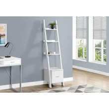 "BOOKCASE - 69""H / WHITE LADDER W/ STORAGE DRAWER"
