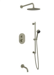 Rain Head + Slide Bar Hand Held + Tub Spout RND - Brushed Nickel