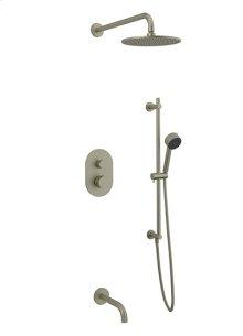 Rain Head + Slide Bar Hand Held + Tub Spout RND - Brushed Nickel