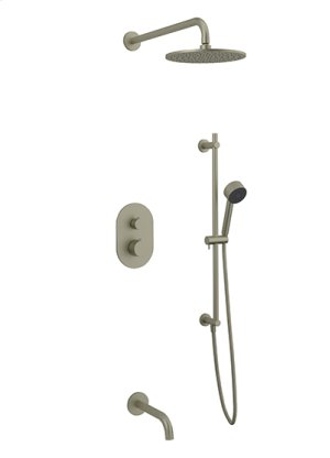 Rain Head + Slide Bar Hand Held + Tub Spout RND - Brushed Nickel Product Image