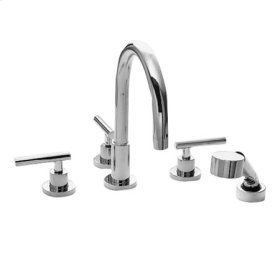Satin Brass - PVD Roman Tub Faucet with Hand Shower