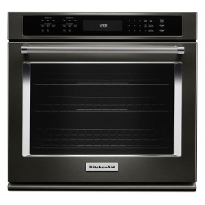 "Kitchenaid27"" Single Wall Oven with Even-Heat True Convection - Black Stainless"