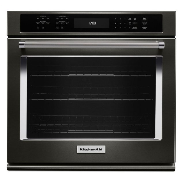 "KitchenAid 27"" Single Wall Oven with Even-Heat™ True Convection - Black Stainless Steel with PrintShield™ Finish"
