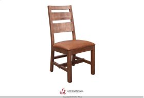 Chair w/Ladder back, Faux leather seat, Solid wood - Brown finish