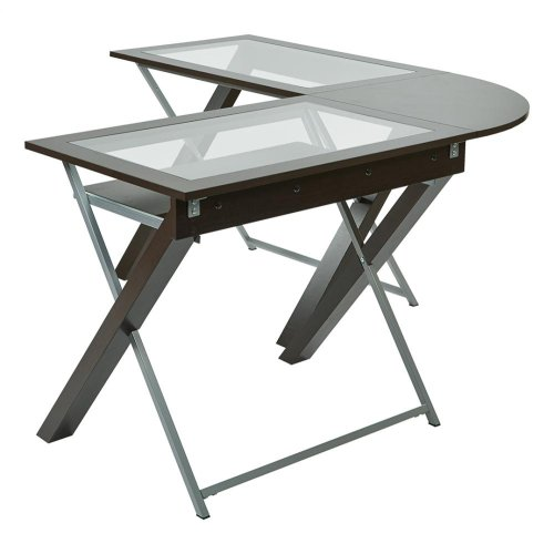L-shaped Computer Desk With Glass Top