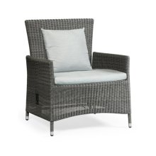 "34"" Grey Wicker Rattan Sofa Chair with Reclining Back, Upholstered in COM"