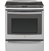 """GE Profile Series 30"""" Slide-In Front Control Induction and Convection Range with Warming Drawer"""