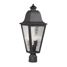 Forged Brookridge 3-Light Outdoor Post Mount in Charcoal