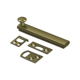 """4"""" Surface Bolt, Concealed Screw, HD - Antique Brass"""