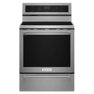 Kitchenaid30-Inch 5 Element Electric Convection Range with Warming Drawer - Stainless Steel