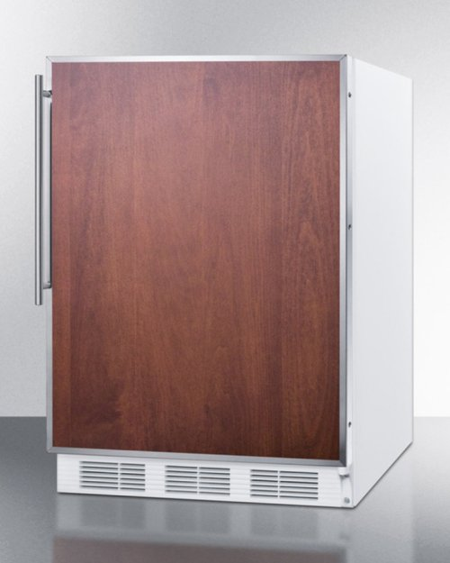 ADA Compliant Built-in Undercounter Refrigerator-freezer for Residential Use, Cycle Defrost W/stainless Steel Door Frame for Slide-in Panels and White Cabinet