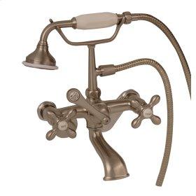 Clawfoot Tub Filler - Elephant Spout, Hand Held Shower, Swivel Mounts, Cross Handles - Brushed Nickel