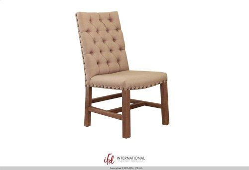 Upholstered Chair with tufted back - 100% Polyester with a linen appearance**