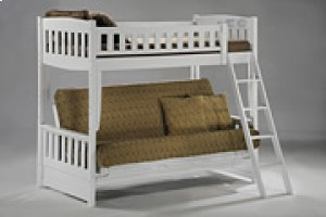 Cinnamon Twin/Futon Bunk in White Finish