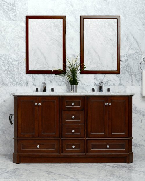 Espresso RICHMOND 60-in Double-Basin Vanity Cabinet with Crema Marble Stone Top and Muse 18x12 Sink