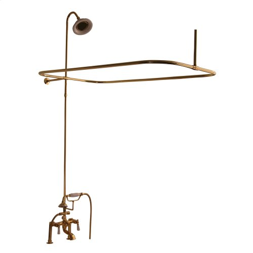 Tub/Shower Converto Unit - Elephant Spout, Shower Ring, Riser, Showerhead, Lever Handles - Polished Brass