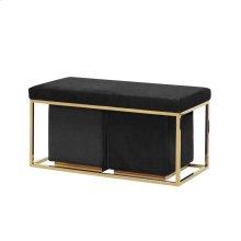 S/3 Black/gold Velveteen Bench/stools Kd