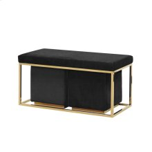 S/3 Black/gold Velveteen Bench/stools Kd